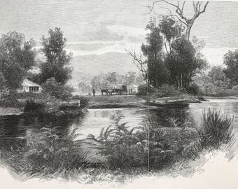 Old Lithograph of Country Scene in Fernshaw Victoria by W C Fitler