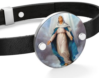 Catholic bracelet - The Virgin Immaculate - Leather Unisex Bracelet - 2 colors - Catholic Jewelry - Virgin Mary gift - Catholic gift ideas