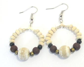Earrings beige Brown coconut shell