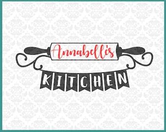 Rolling Pin svg, Kitchen Monogram svg, Kitchen Name Frame Svg, Kitchen svg, Kitchen Decor Svg, Kitchen Last name svg, Cricut, Silhouette