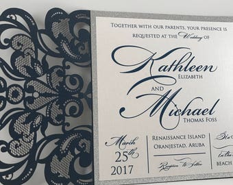 Laser Cut wedding Invitations. Navy Blue and Silver Laser Cut Wedding Invitation.  Laser Cut Invitation.