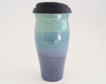 In Stock, Stoneware Travel Mug with Silicone Lid and Sleeve, To Go Coffee Mug, 24 oz Blue Green Eco Mug