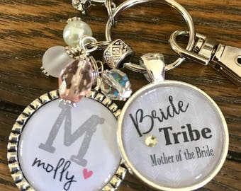 BRIDE Tribe, personalized bridal party gifts, bachelorette party favors, bridesmaid, keychain, wedding jewelry, maid of honor, flower girl