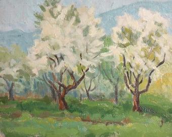 1963 oil impressionist spring  landscape oil painting