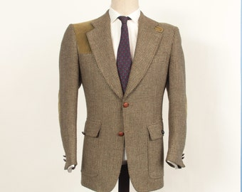 Vintage Harry Rosen Country Squire Olive Green Brown Tweed Shooting or Hunting Sport Coat with Elbow Patches, Throat Latch, Size 40 S