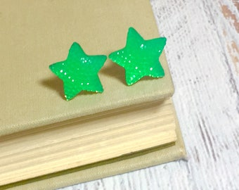Bright Neon Green Faux Druzy Star Studs with Surgical Steel Posts (SE15)