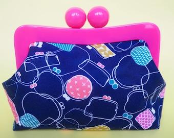 ON SALE! Retro Purse Clutch Bag - Gamaguchi - Vintage Style Clutch - Evening Bag - Navy & Pink