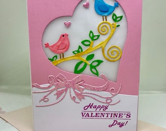 Valentines Day, Valentines Day Gift, Valentines Handmade Card, I Love You Card, Love You Card, Love Birds Card