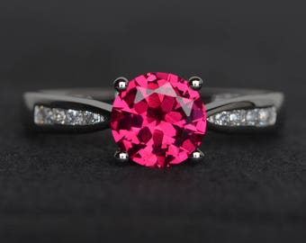 ruby engagement ring sterling silver red gemstone ring round cut July birthstone ring