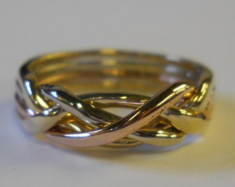 Ladies 4 Band  10k Tri-Color (Yellow/Rose/White/Yellow) Gold Puzzle Ring 4T