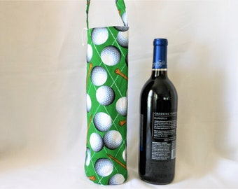 golf theme wine tote gift bag, Father's day gift,  birthday present for him and her, fun gift for people who like golf