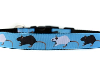 1 Inch Wide Dog Collar with Adjustable Buckle or Martingale in Barnhunt Rats