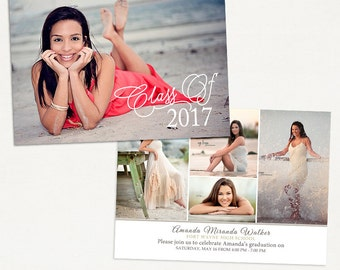 Senior Graduation Announcement Template for Photographers 022 - ID258, Instant Download
