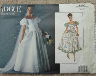 Vogue Bridal original pattern size 6-8-10 No 2933