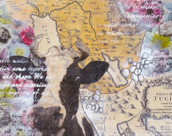 Zug Map Mixed Media - Cow