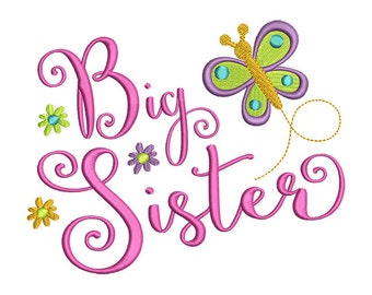 Big Sister Butterfly Embroidery Design- Instant Download