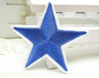 BLUE Star Patch Red Yellow Gold White Black Silver Star Applique Star Patch Iron On or Sew On Moon Night Stars Sky Star Patches