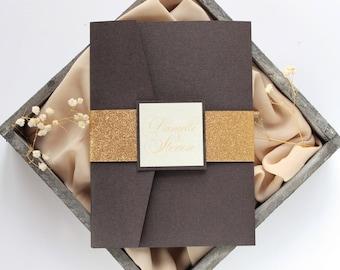 SAMPLE, Gatsby Style Wedding Invitation, Brown and Gold Wedding Invitation, Glitter Wedding Invitation, Art Deco Wedding Invitation