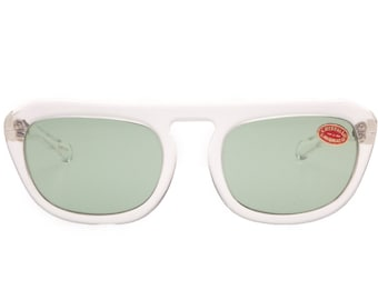 Sirtori vintage 1960s NOS clear flat top high quality hand made in Italy sunglasses with green real crystal lenses.