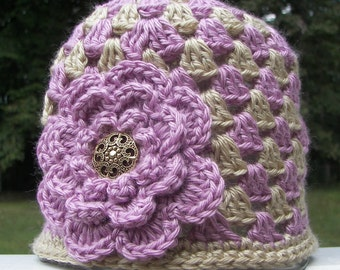 Mauve and Tan Toddler Hat with Mauve Flower - Granny Square Crochet - Toddler Size 1-2 - Ready to Ship - Beautiful Flower - Gold Button