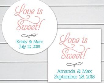 Love Is Sweet Wedding Stickers, Wedding Stickers, Wedding Favor Stickers  (#011)