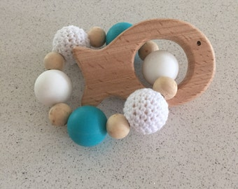 Torquise and white fish teether