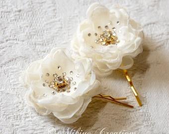 Bridesmaid Hair Flowers - Flower Girl Hair Pins -  Wedding Accessories - Wedding Mini Hair Flower Bobby Pins - Christie