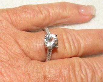 Sterling Silver Engagment Ring With White Sapphires