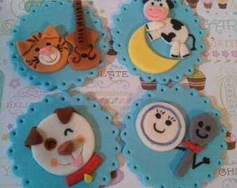 FREE SHIPPING Through May 30th-- Hey Diddle Diddle Edible Cupcake Toppers - Set of 12