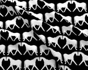 Black and White Equestrian Horse Fabric - Graphic Dressage By Ragan - Equestrian Cotton Fabric By The Yard With Spoonflower