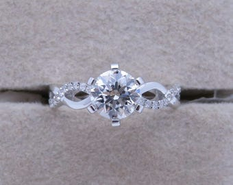 1 carat Forever One  Moissanite Engagement ring with natural diamonds, Bridal Ring,Diamond Alternative engagement ring