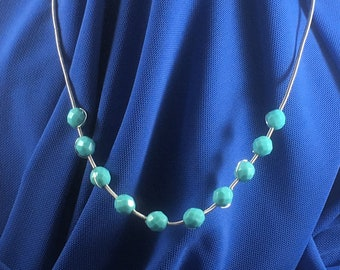 Turquoise beads and wire coiled necklace
