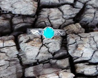 Sterling Silver & Arizona Turquoise Southwest Patterned Ring