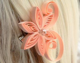 Peach Wedding Hair Clip, Apricot Wedding Hair Accessory, Bisque,