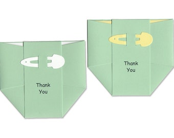 Baby Thank-You Cards - Pastel Green Diapers with Thank you Notes - Gender Neutral Baby Shower Cards