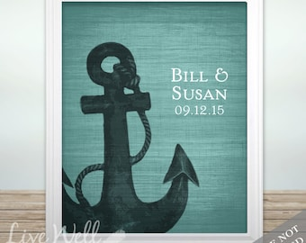 Anchor Together - Custom Nautical Wedding Print - Personalized Wedding Gift - Bridal Shower Gift - Engagement Present - Canvas or Print