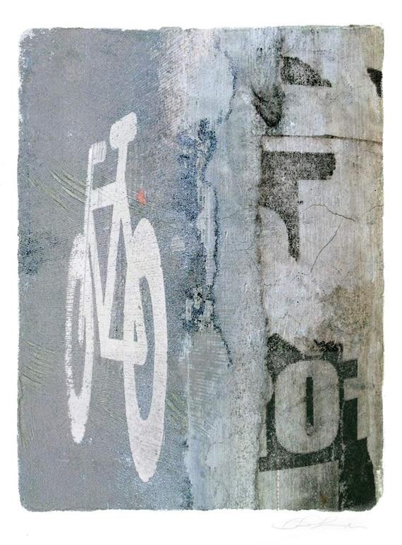 Street Glyph, transfer print, alternative processes, urban art, street art, urban decay, neutral colors, fine art print, monoprint,bicycle