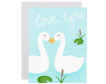 LOVE YOU card. Illustrated love birds card. Anniversary card. Valentines Day card. Sweet love card.