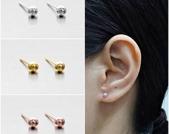 925 Sterling Silver Earrings, Ball Earrings, Dot Earrings, Gold Plated, Rose Gold Plated Earrings, Stud Earrings Size 3.5 mm (Code : EB75A)