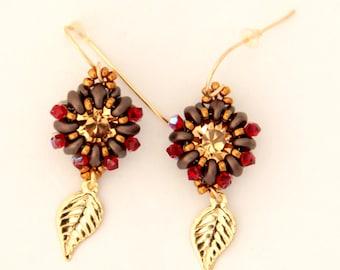 Beaded Super Duo Earrings / Beaded Swarovski / Beaded Earrings / Beaded Swarovski Earrings
