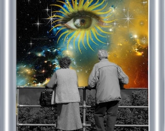 Visionary Cosmic Art Print 8 x 10 – Elderly Couple at Eternity - Celestial - Mystical - Eye - Time Mortality - The Universe - Metaphysics