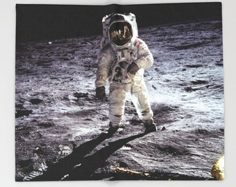 Moon Astronaut Buzz Aldrin Throw Blanket, Outer Space Decor, Home Decor
