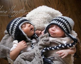 Crochet Aviator Hat with Braids in Blue - winter hats for boys - winter hats for baby boys - hats for men