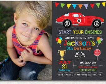 Race Car Birthday Invitation, Race Invitation, Racing Car Invite, printable, photo invitation