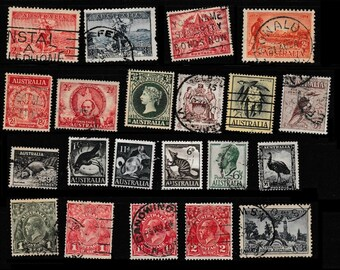 Antique Australian Postage Stamps - Collectors, Collage, Altered Books, Scrapbooking