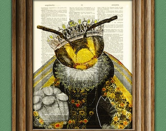 Queen Elizabee her Royal Highness Queen Bee Dictionary page art print