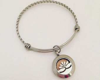 Lotus Flower Stainless Steel Aromatherapy Bracelet - Essential Oil Diffuser Bracelet - Aromatherapy Pendant - Essential Oil Bracelet