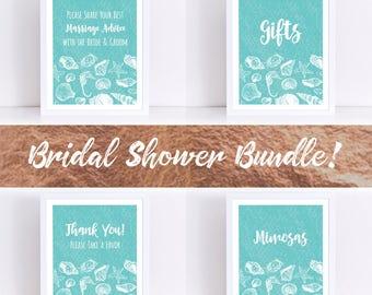 Turquoise Beach Bridal Shower Signs Bundle, Bridal Shower Signs, Beach Bridal Shower, Bridal Shower Decorations, Beachy Bridal Shower