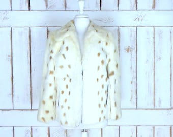 Vintage spotted ivory/off white rabbit fur jacket/ivory rabbit fur coat/Newmans fur coat