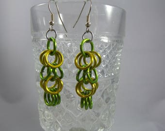 Lemon Lime Shaggy Green and Yellow Gold Chainmaille Earrings